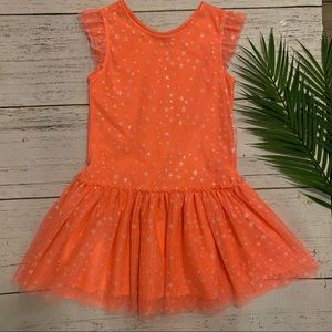 Children's Place Dress Girls Size 7/8 Coral Stars